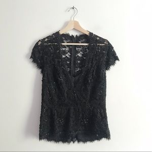 Tadashi Collection Lace Sequin Beaded Blouse